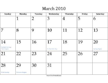 March 2010 Calendar Calendar