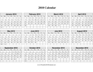 2010 Calendar on one page (horizontal grid) Calendar