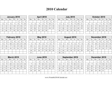 2010 Calendar on one page (horizontal, week starts on Monday) Calendar