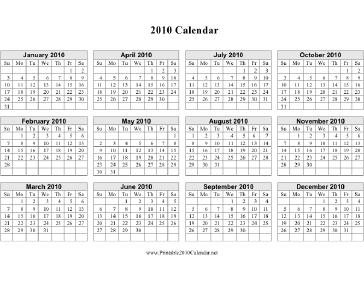 2010 Calendar On One Page Vertical Grid Calendar | Auto Design Tech