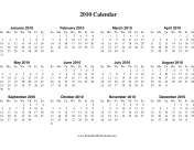 2010 Calendar on one page (horizontal) calendar