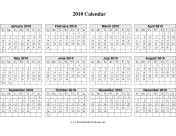 2010 Calendar on one page (horizontal grid) calendar