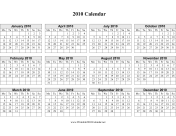 2010 on one page (horizontal, week starts on Monday) calendar