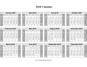 2010 on one page (horizontal, shaded weekends) calendar