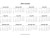 2010 Calendar on one page (horizontal, holidays in red) calendar