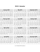 2010 Calendar (vertical, descending grid) calendar