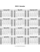 2010 on one page (vertical, shaded weekends) calendar