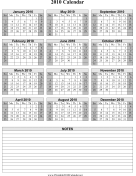 2010 on one page (vertical, shaded weekends, notes) calendar